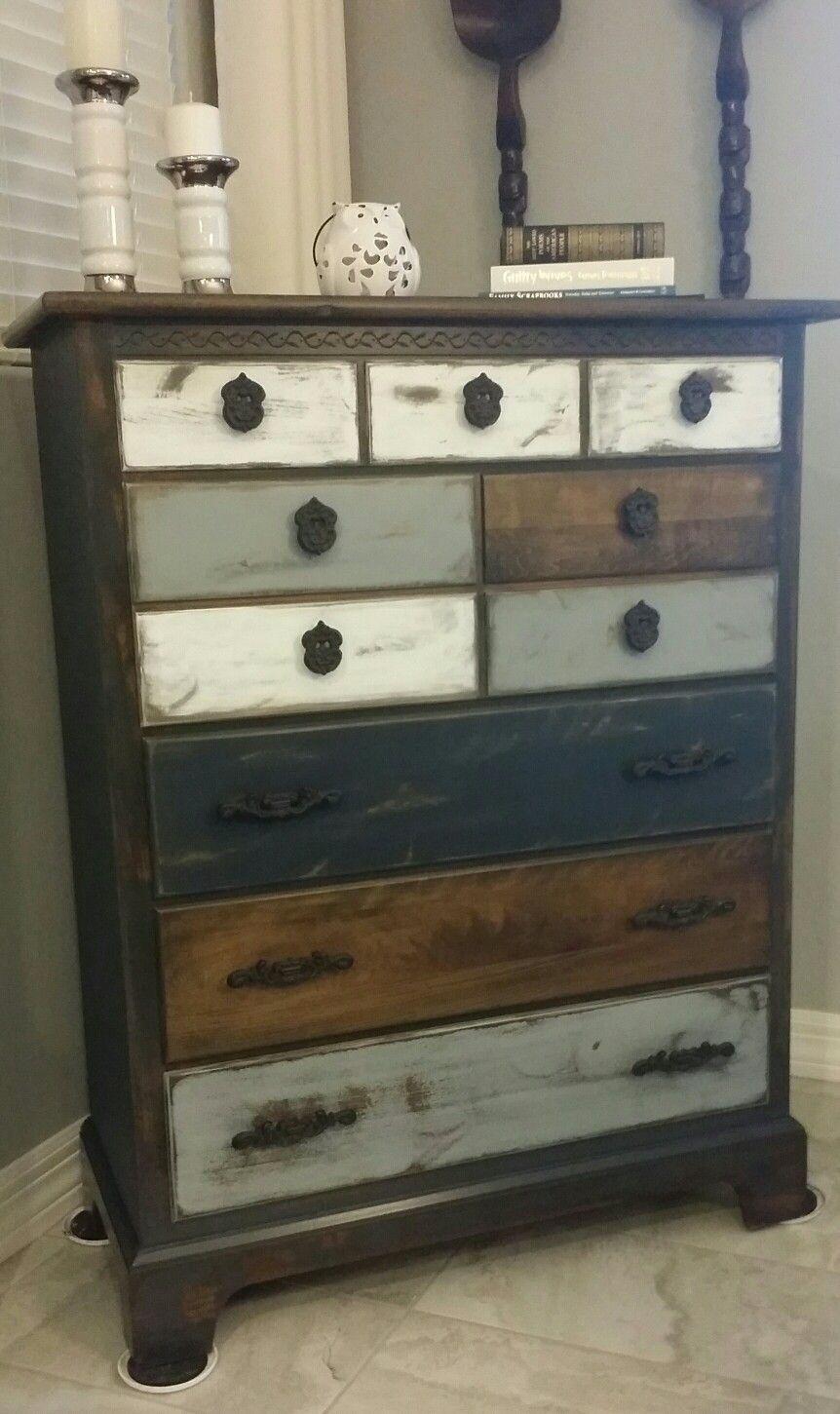 Tall Rustic Dresser Gray Tones Rustic Dresser Refinished Bedroom Furniture Dresser Decor [ 1451 x 862 Pixel ]