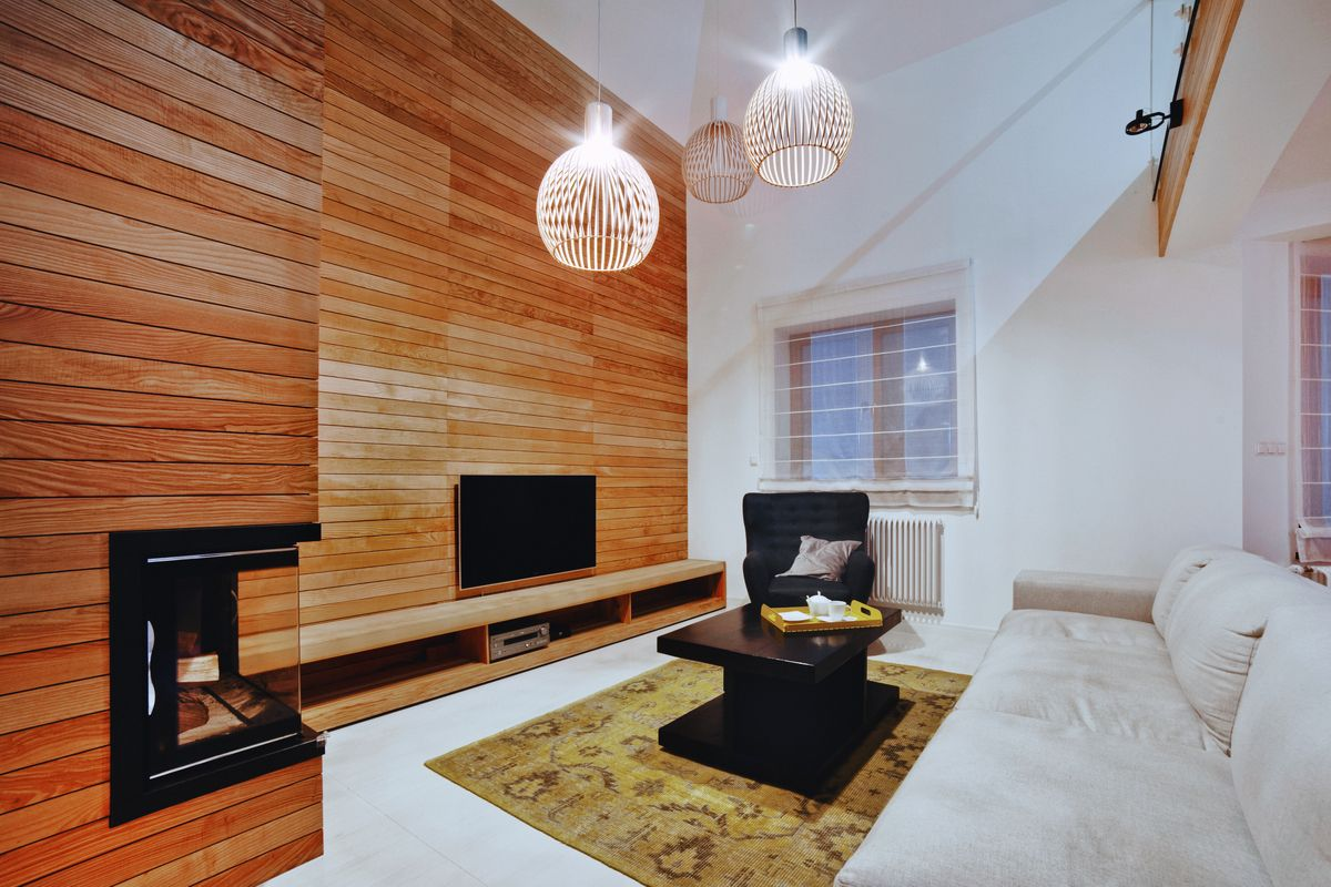 Wooden planks in living room. Secto design/octo pendant.