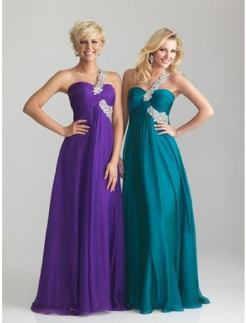 A-Line One-Shoulder Floor-length Chiffon Prom Dress