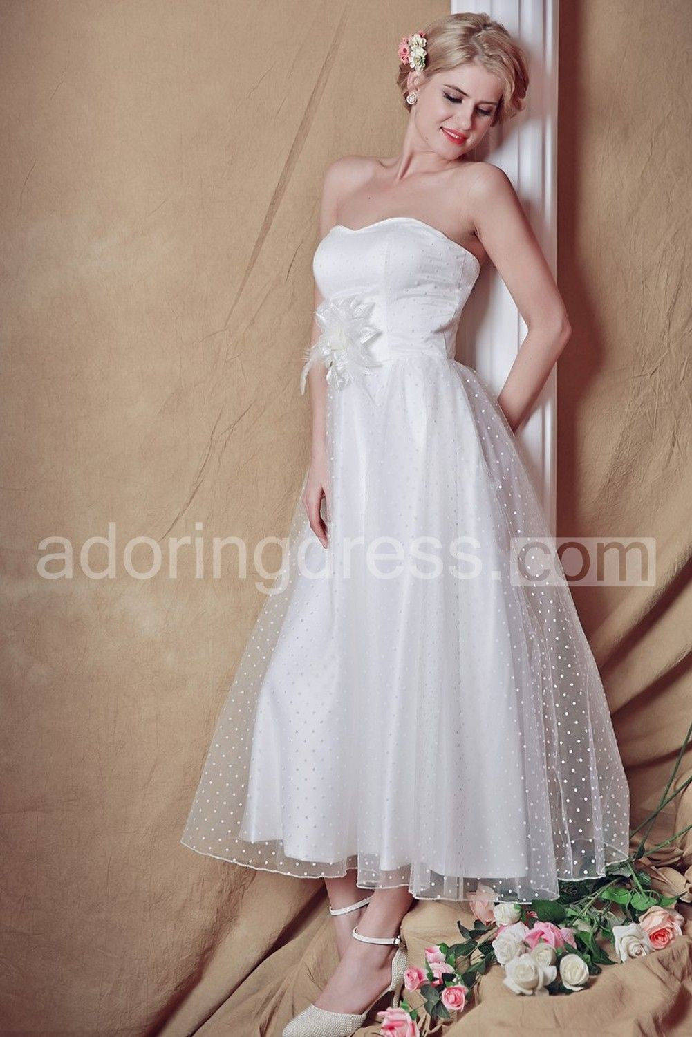 Exquisite strapless tealength country wedding dress weddings