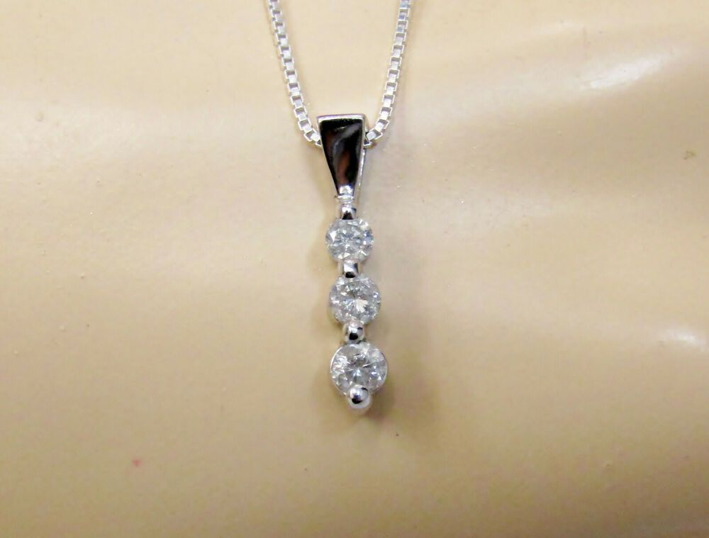 1 4 Carat Three 3 Stone Diamond Pendant Necklace Solid 10k White Gold Pendant Gift Diamond Pendant Diamond Diamond Pendant Necklace