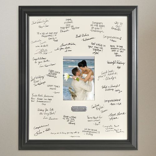 Sign Able Picture Frame As Guestbook That Will Hang On The Wall After Wedding