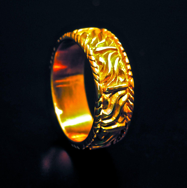 MENS WEDDING RING Band Designer 18k Yellow by
