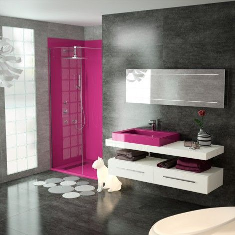salle de bain gris noir blanc fushia recherche google study pinterest salle salle de. Black Bedroom Furniture Sets. Home Design Ideas
