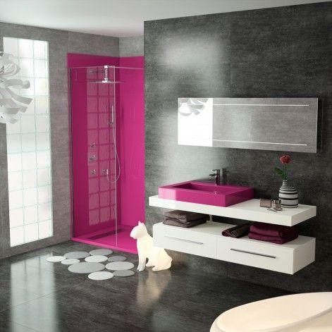 salle de bain gris noir blanc fushia recherche google study pinterest salle de bains. Black Bedroom Furniture Sets. Home Design Ideas