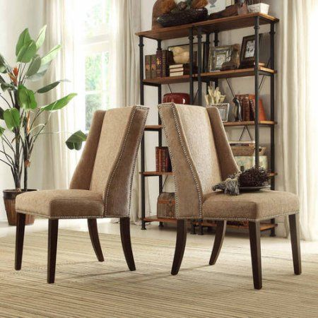 Ayana Chenille Wingback Nailhead Chair Set Of 2 337 Nailhead Chair Wingback Dining Chair Dining Chairs