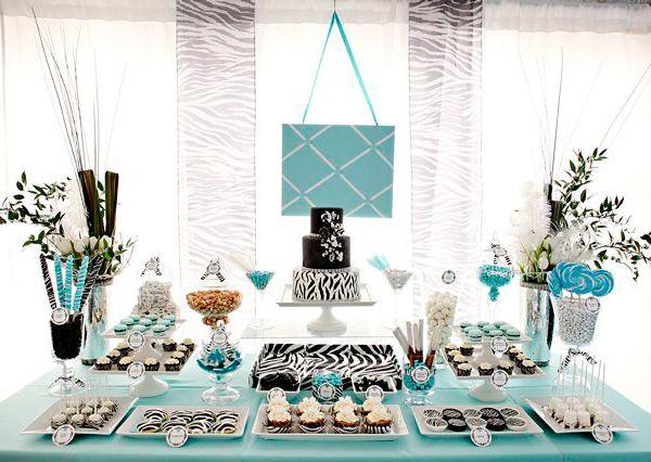 Tiffany Blue And Chocolate Baby Shower Sweet Combo Bold Zebra Tiffany Blue Hostess With The Mostess Tiffany Party Tiffany Theme Zebra Party