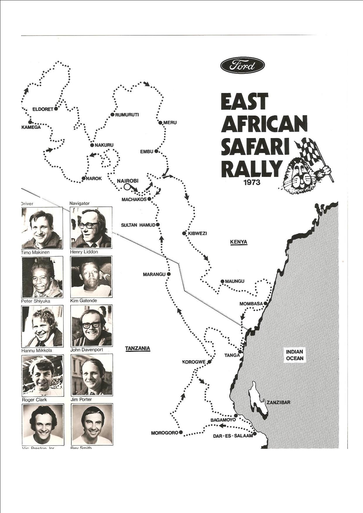 Ford team drivers for the 1973 East African Safari Rally