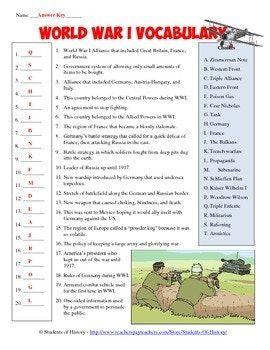 Free Printable World War 1 Worksheets