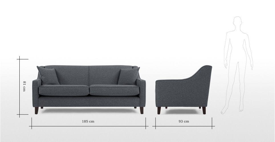 Halston 3 Seater Sofa, Charcoal Weave | made.com
