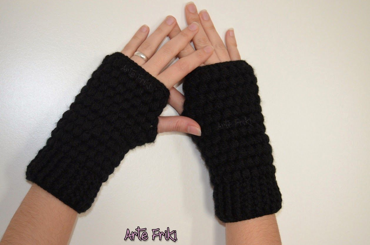 crochet ganchillo mitones mittens fingerless guantes sin dedos ...