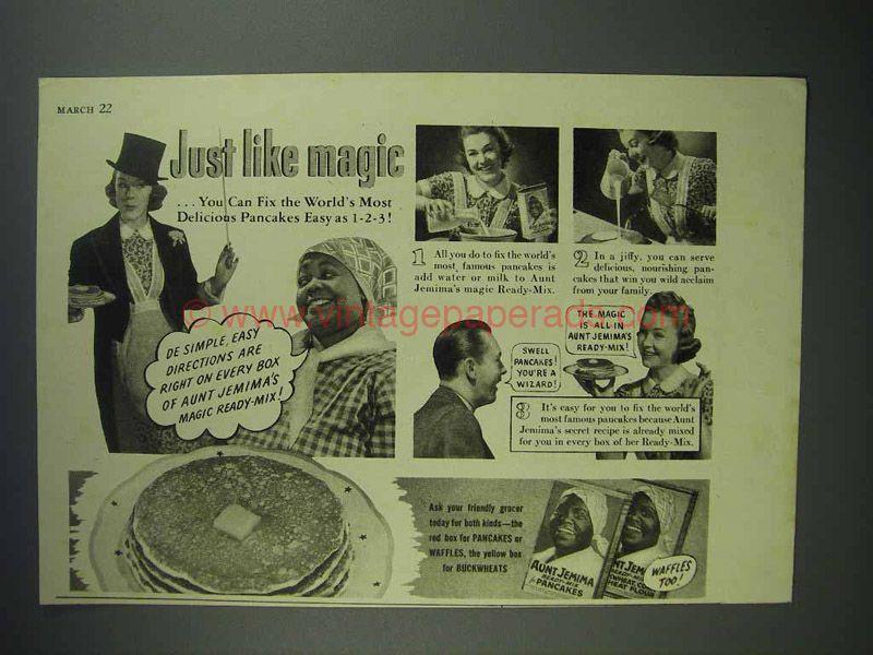 1940 aunt jemima pancake mix ad just like magic aunt
