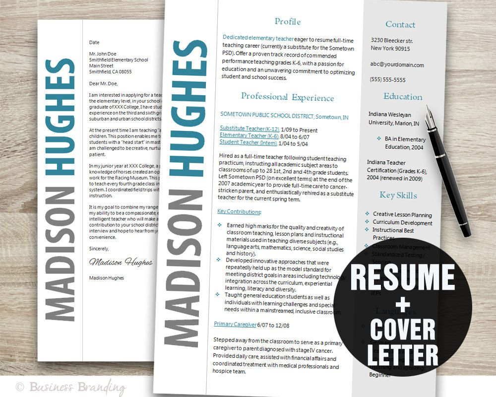 Teacher Resume Template Word / Cover Letter Template / Instant ...