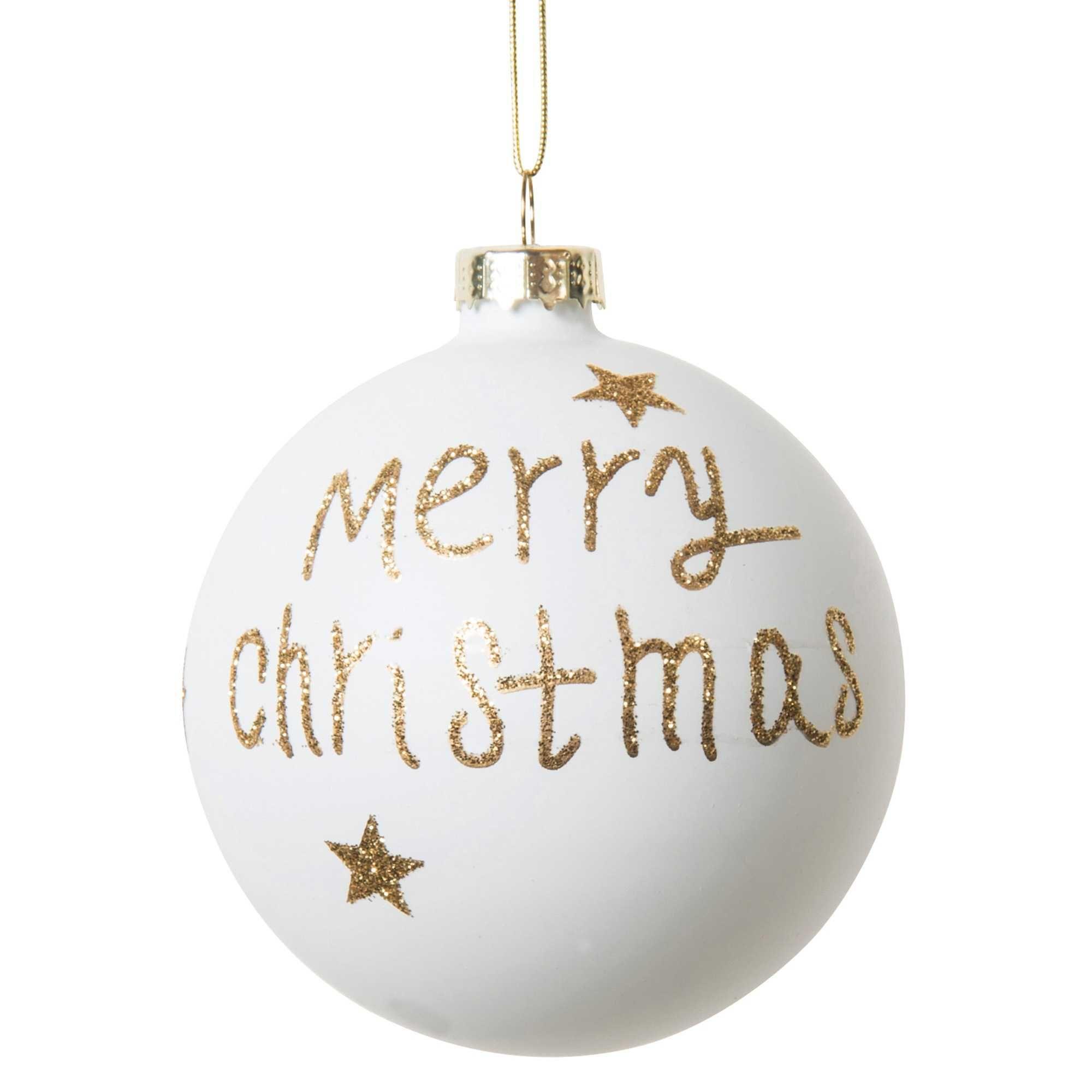 boule de no l blanche dor e en verre 8 cm merry glitter vendu par 6 christmas pinterest. Black Bedroom Furniture Sets. Home Design Ideas