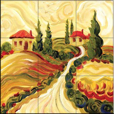 Decorative Wall Tile Murals Alluring Tile Mural  Tuscan Villas Ii  Kitchen Backsplash Ideas Inspiration Design