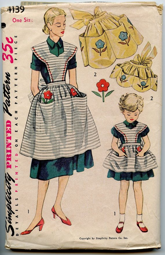 1950s Simplicity 4139 Mother Daughter Half or Full Bib Apron Vintage ...