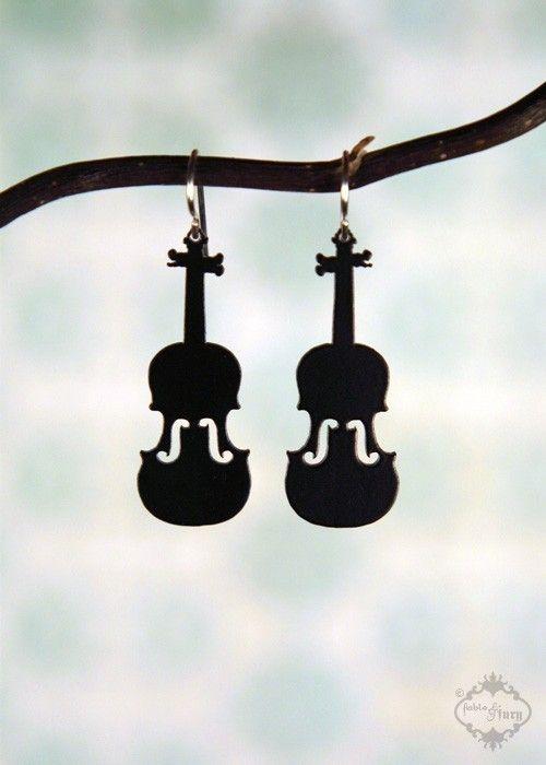 Violin Fiddle silhouette earrings in black by FableAndFury ...