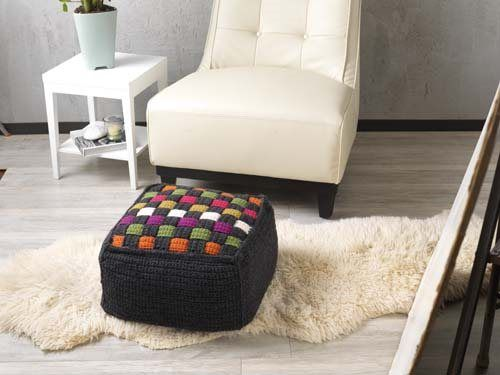 This crochet ottoman perfectly combines modern and traditional Technicolor Cube Ottoman - Media - Crochet Me