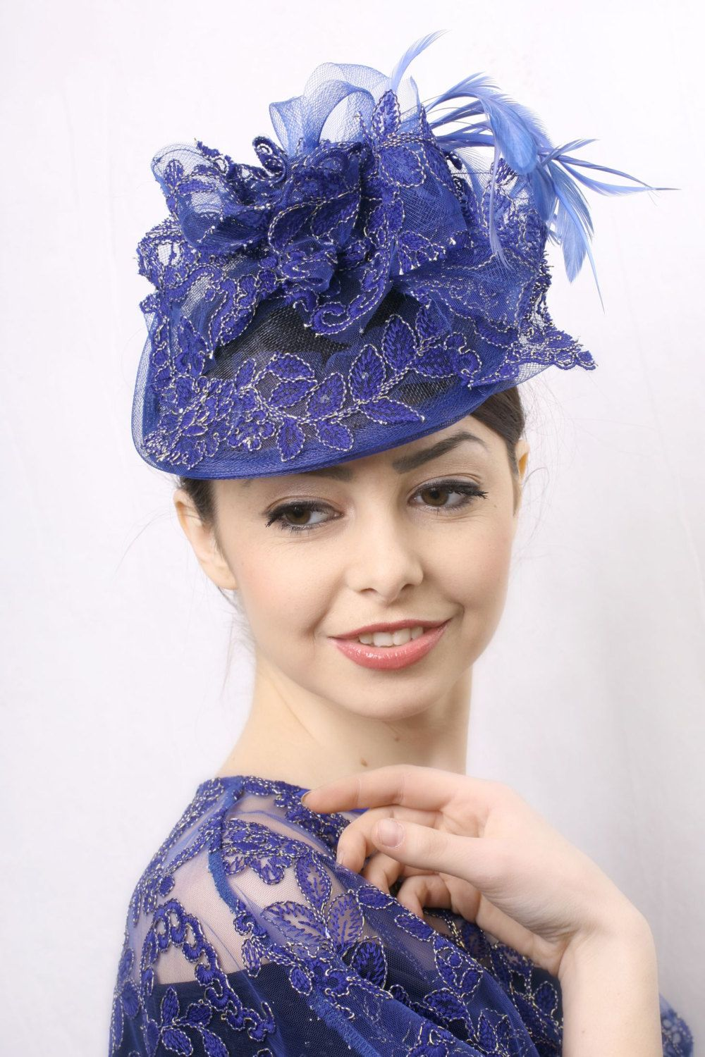 2ce2a4eb9bf62 Royal blue Kentucky derby Fascinator, Royal Ascot hat, Wedding head piece  royal blue feathers and lace, Hat for derbies, weddings, ...