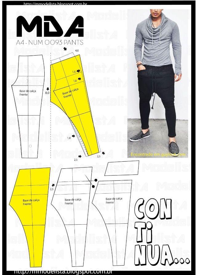 Штанцы | pantalón | Pinterest | Patrones, Costura y Molde