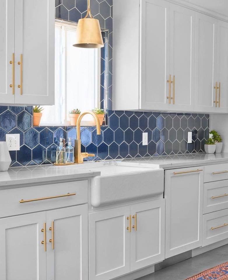 Blue and gold? | Blue backsplash kitchen, Kitchen design ...