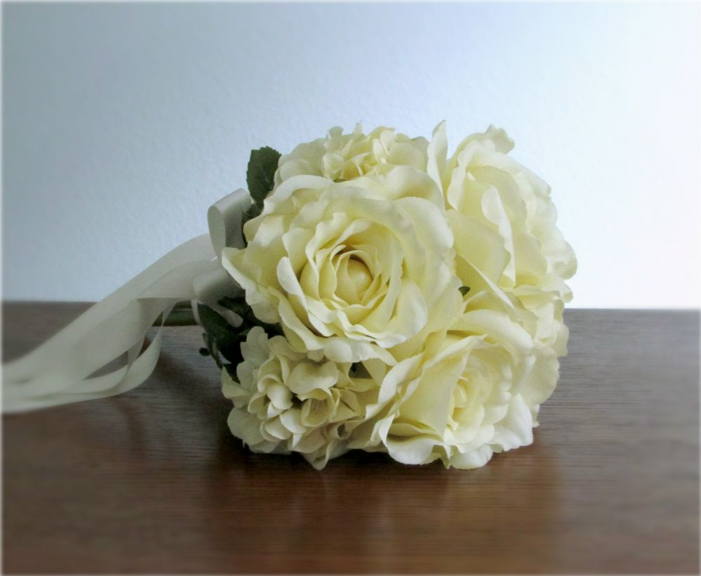 Ivory Rose And Geranium Silk Flower Toss Bouquet With Ivory Satin