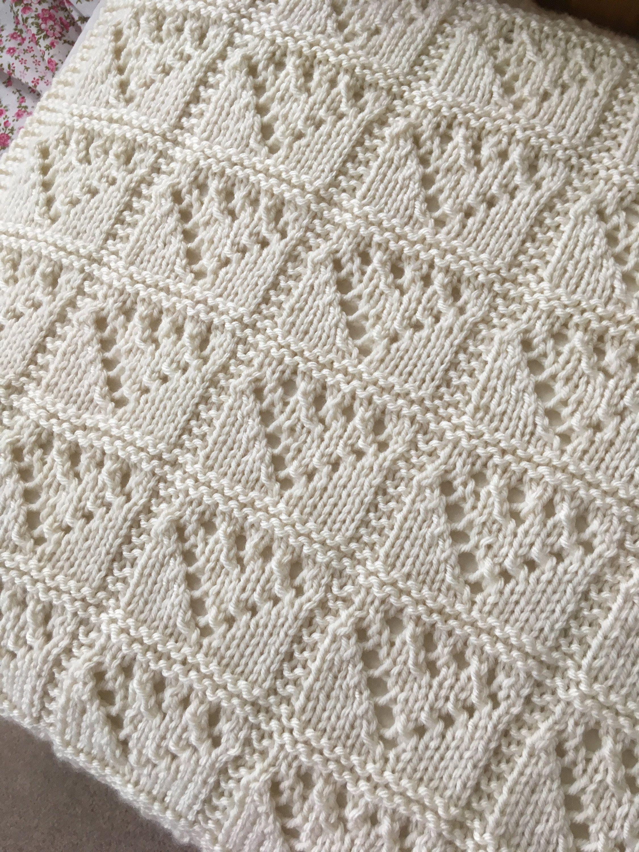 Lace Hearts Blanket Knitting Pattern, PDF, Aran, Baby, Nursery by ...