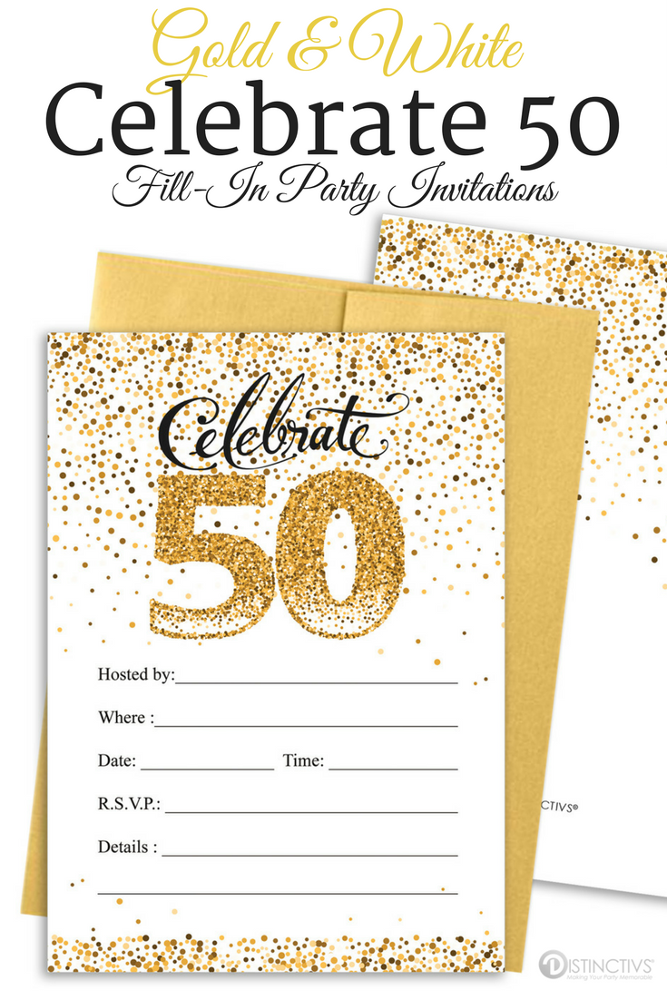 White and Gold 50th Party Invitation Cards with Envelopes - 25 Count ...