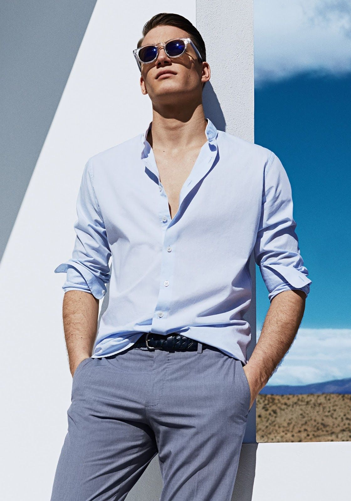 Florian Van Bael Is A Summer Vision For Mango Casual Shirts For Men Men Street Fashion Well Dressed Men [ 1600 x 1120 Pixel ]