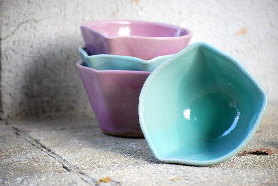 bowls in mint and lavender ice cream candy serving by claylicious, $15.00