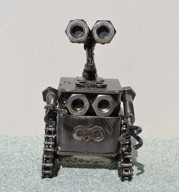 WALL-E 5.5 pulgadas hecho a mano reciclado por ScrapSculptures