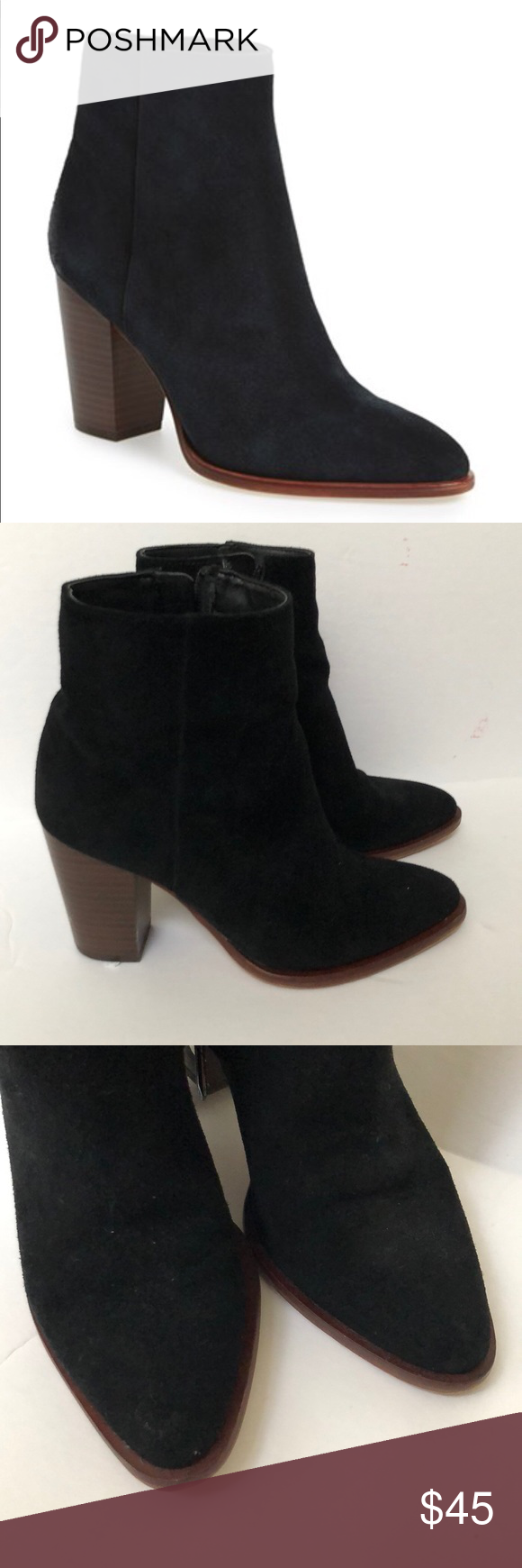 aaf3266edb45 Sam Edelman Blake Suede Black Ankle Boots Preowned