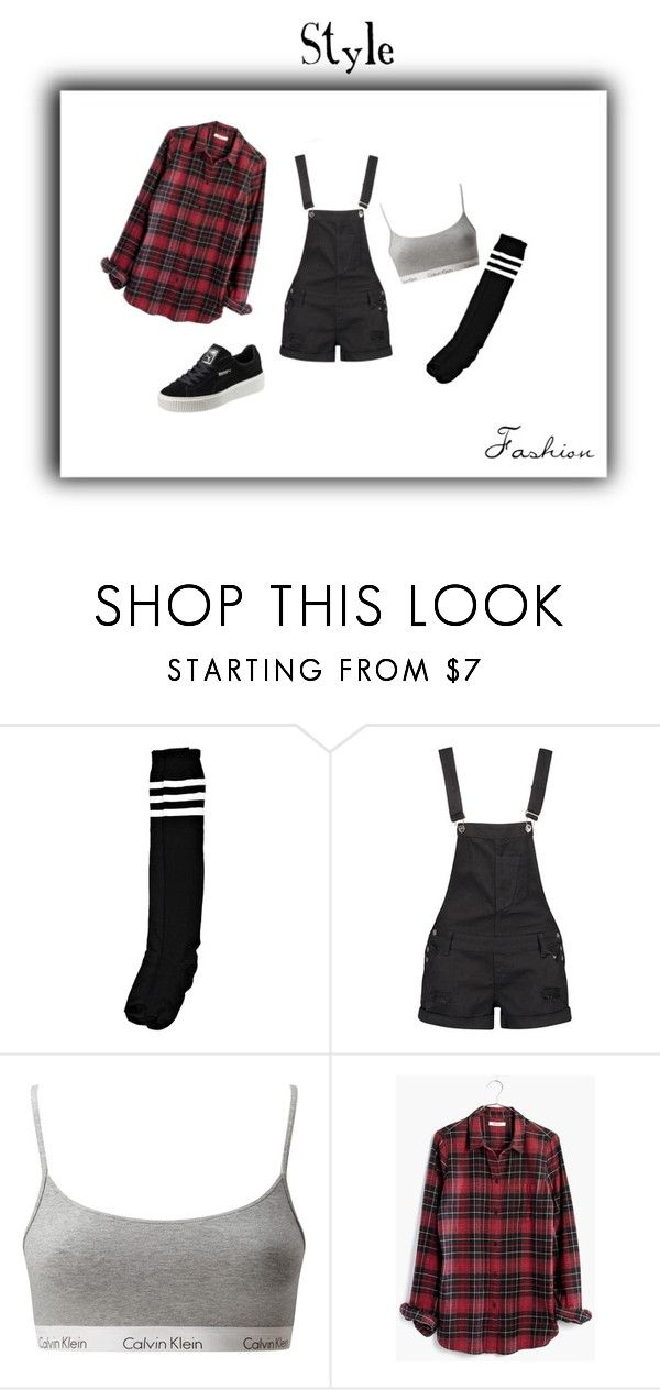 """""""Untitled #59"""" by queen-slayyyy ❤ liked on Polyvore featuring Boohoo, Calvin Klein Underwear, Madewell and Puma"""