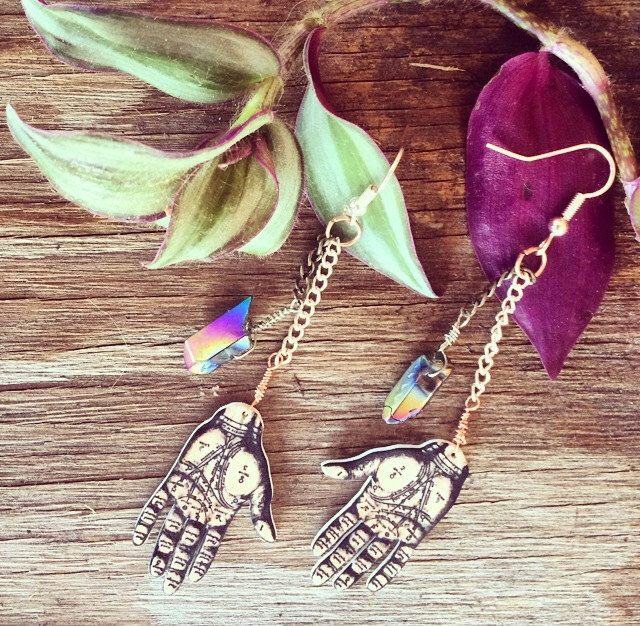 Tarot Palm Wicca Charm Raw Hematite Crystal Dangle Earrings // Silver + Gold Earrings feat. Vintage Chain // Boho Handmade Jewelry by Clarafornia on Etsy https://www.etsy.com/listing/227287918/tarot-palm-wicca-charm-raw-hematite