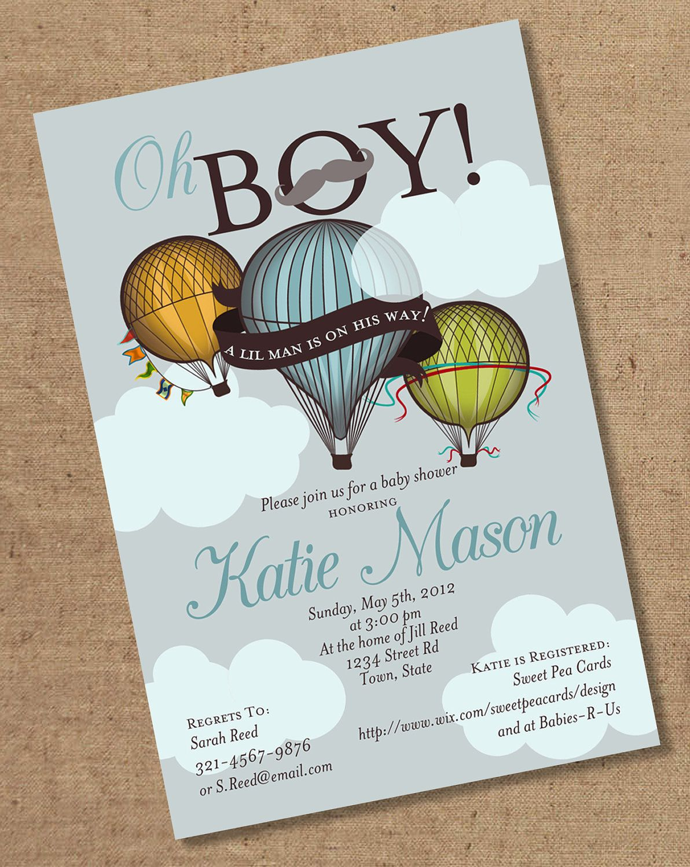 Oh Boy Lil Man Balloon Baby Shower Invitation Vintage Baby
