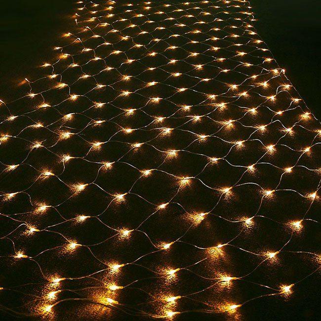 led outside warm white christmas net lights