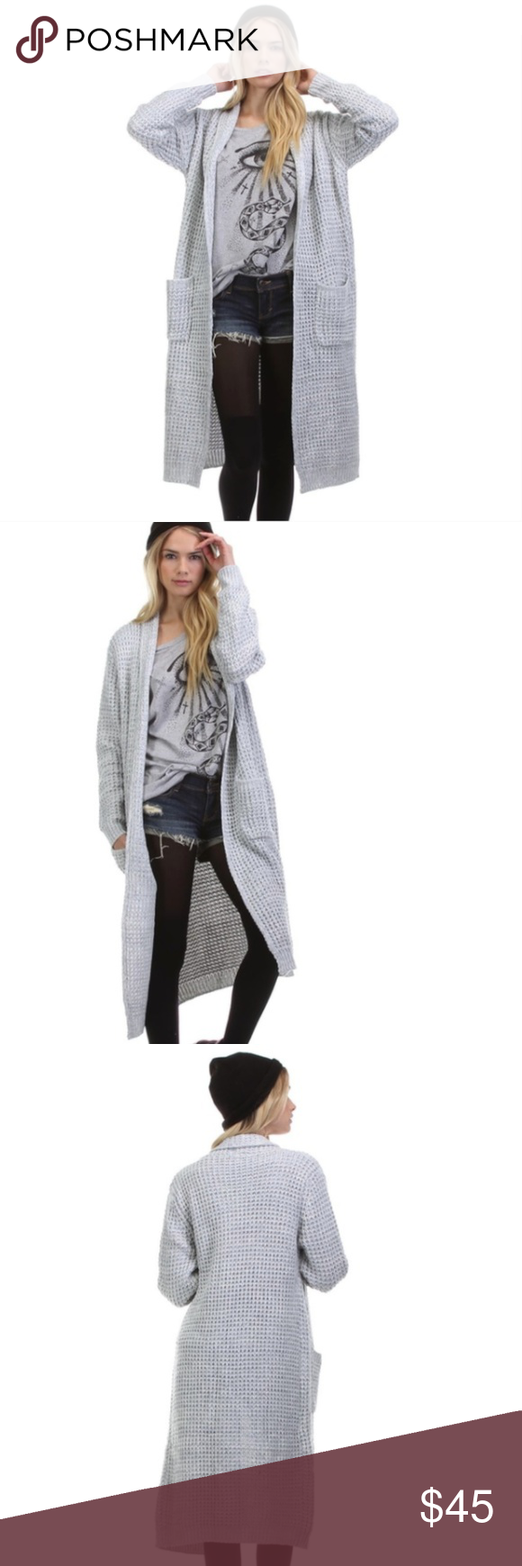 Light Gray Maxi Cardigan Sweater Boutique
