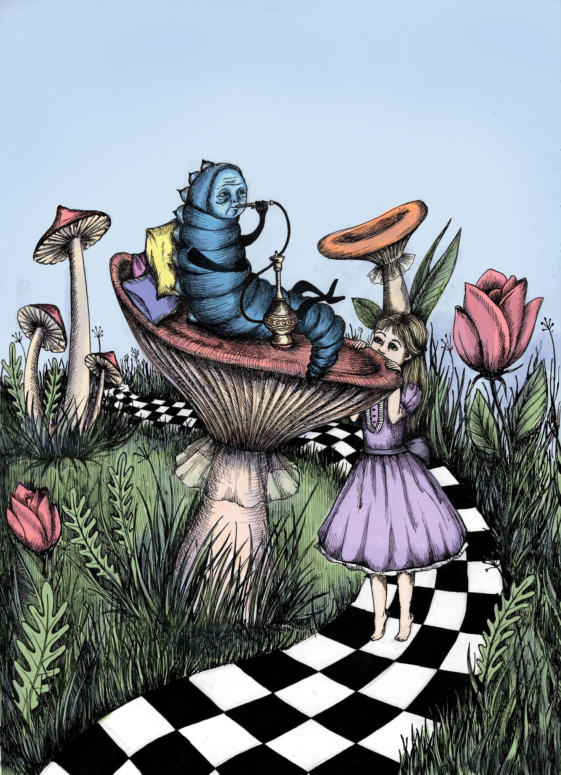 The Blue Caterpillar Alice In Wonderland On Behance Alice In