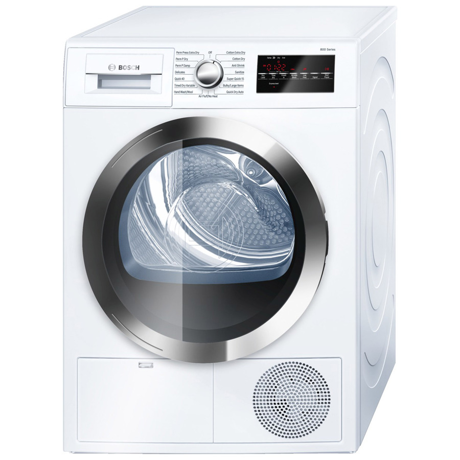 Bosch 800 4 Cu Ft Stackable Ventless Electric Dryer White Chrome Energy Star Lowes Com Ventless Dryer Electric Dryers Compact Washer And Dryer