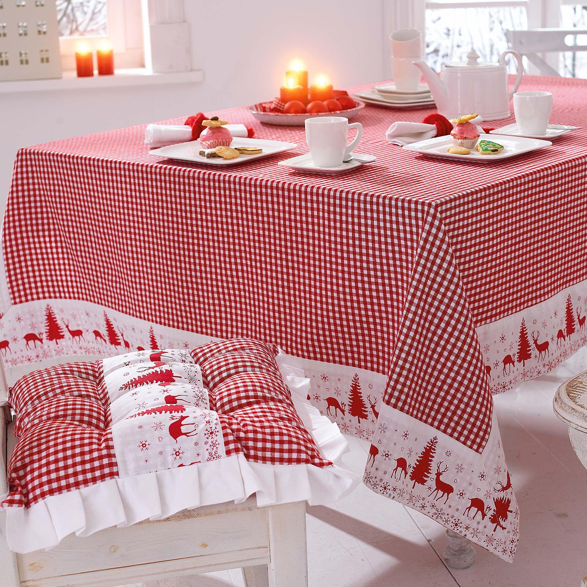 DIY Tischdecke und Kissen Weihnachten, rot-weiss-kariert DIY ...