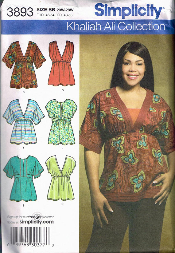334831e970c Size 20-28 Misses' Plus Size Top Sewing Pattern - Deep V Neck Tunic Top - Empire  Waist Tunic Top - B