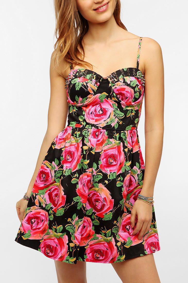 74d422683a Reverse Spiked Floral Bustier Dress