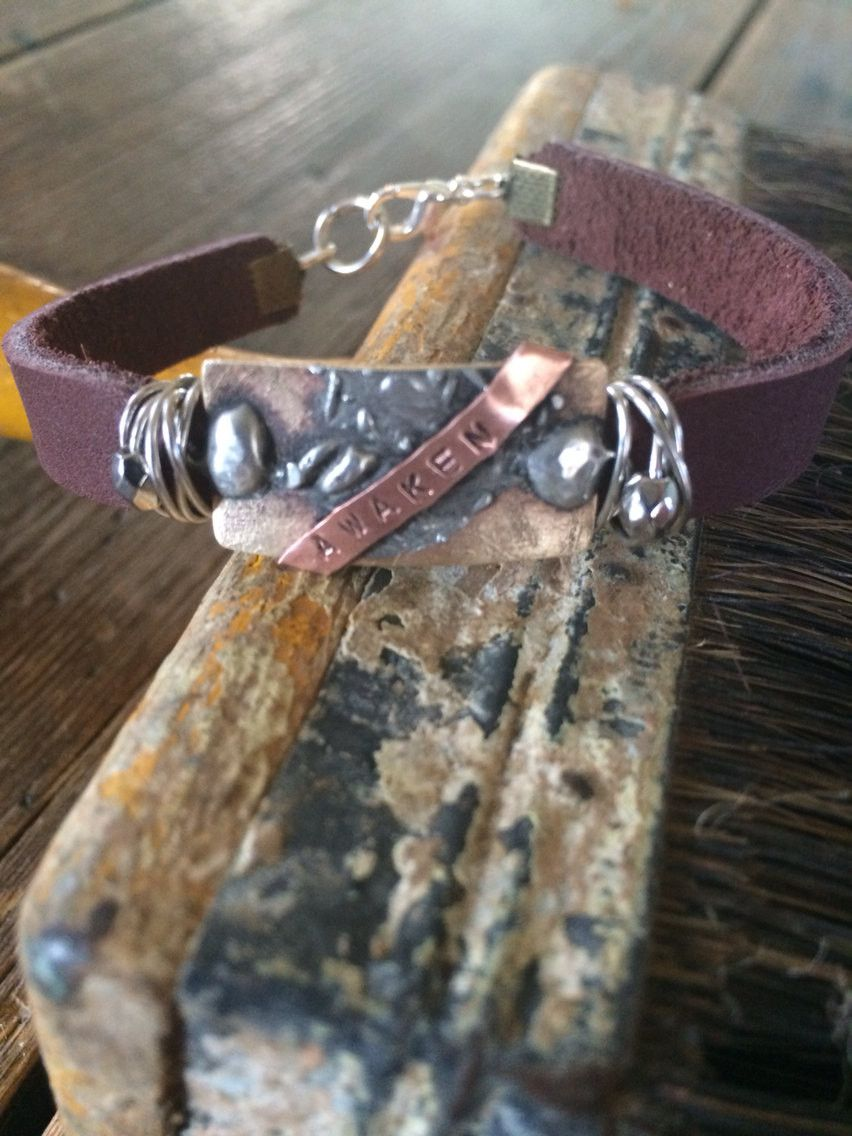 AWAKEN Leather Bracelet with etched brass - stamped and wire wrapped