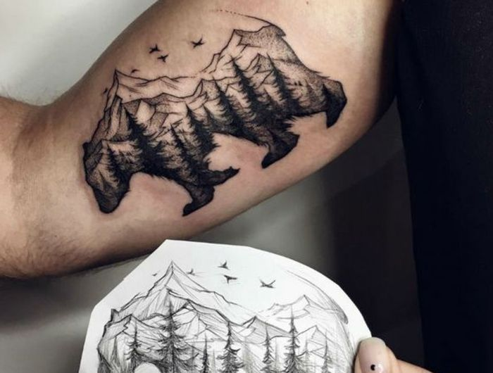 1001 dessins originaux de tatouage montagne tatouages. Black Bedroom Furniture Sets. Home Design Ideas