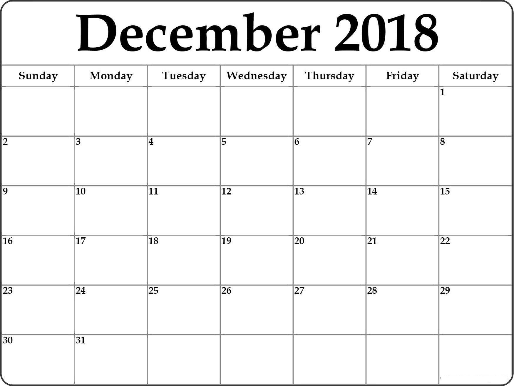 Printable December 2018 Calendar Templates Free Calendar