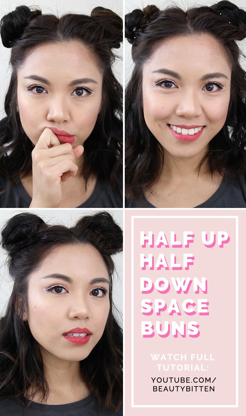 Hair How To Heatless Half Up Half Down Space Buns Tutorial For Short Hair Coachella Hairstyle Inspirat Short Hair Tutorial Short Hair Bun Half Bun Hairstyles
