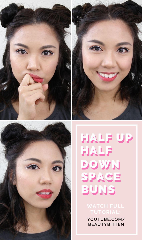 Hair How To Heatless Half Up Half Down Space Buns Tutorial For Short Hair Coachella Hairstyle Inspirat Short Hair Tutorial Half Bun Hairstyles Short Hair Bun