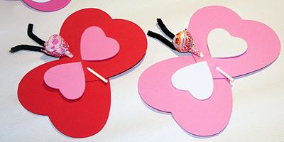 Valentines Day  Butterfly Lollipop Valentines Day Card Craft