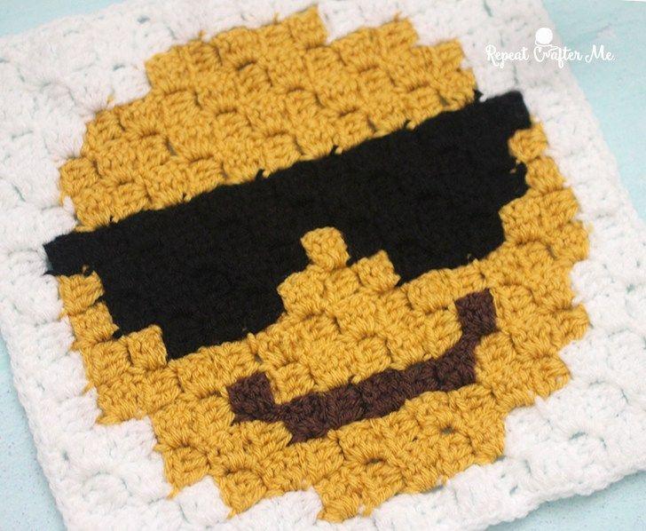 Emoji c2c just need to add the border   Colcha de ganchillo