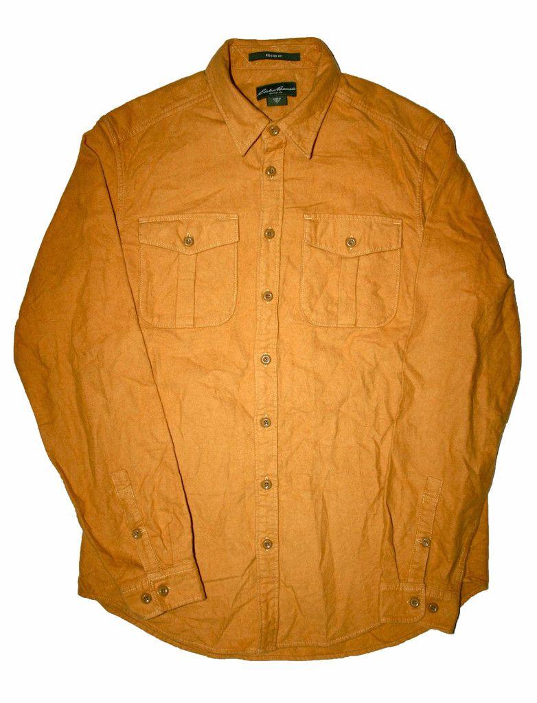 Vintage Mustard Yellow Eddie Bauer Flannel Work Shirt Mens Size Large $30.00